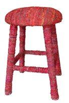 nuLoom Handmade Bombay Red Sari Silk Bar Stool