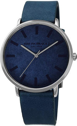 Bruno Magli Men's 42mm Roma Minimalist Watch w/ Leather Dial, Blue/Steel