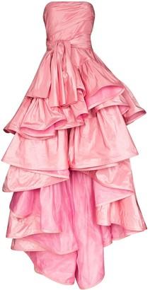 Oscar de la Renta Tiered Taffeta Strapless Gown