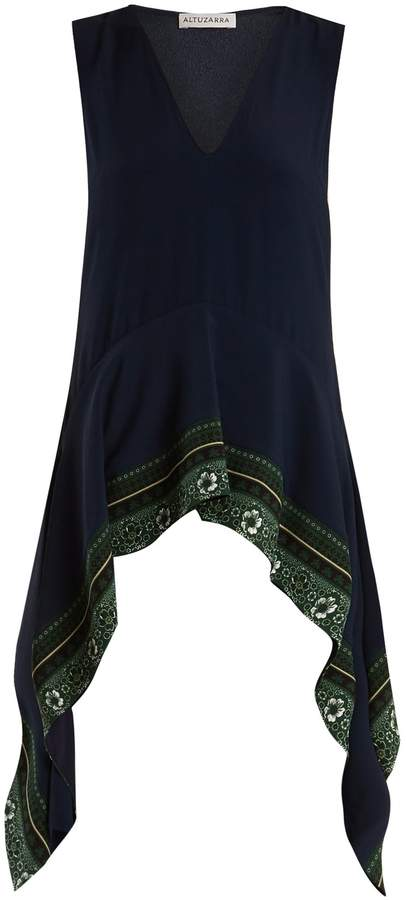 Altuzarra Didy V-neck printed-hem top