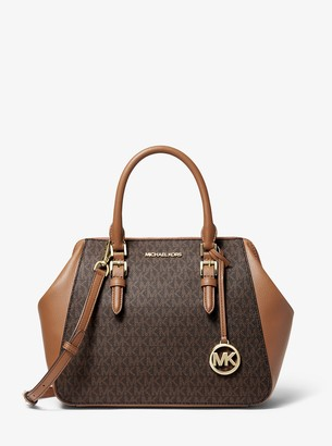 MICHAEL Michael Kors Charlotte Large Logo and Leather Satchel