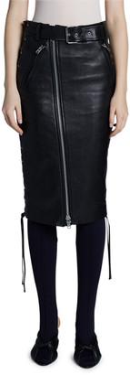 Balenciaga Leather Biker Side-Laced Skirt