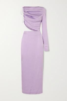 MATÉRIEL Leo One-sleeve Cutout Satin-jacquard Midi Dress - Lilac