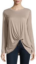 Design Lab Lord & Taylor Ribbed Knot-Front Top