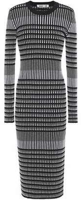 McQ Striped Ribbed Cotton-blend Jacquard Midi Dress