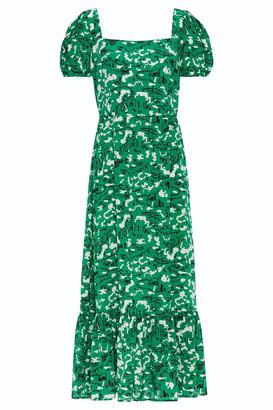 HVN Fromer Gathered Printed Silk-crepe Midi Dress