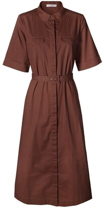 Skin and Threads Cotton-Poplin Belted Midi Dress