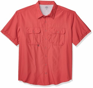 Izod Men's Big & Tall Big Short Sleeve Beach Button Down Solid Shirt