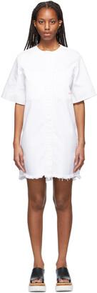 Victoria Victoria Beckham White Denim Frayed Hem Mini Dress