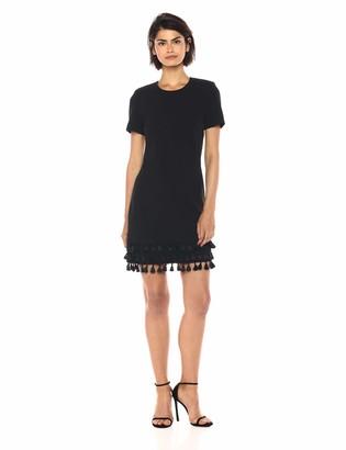 Calvin Klein Women's Solid Short Sleeve Sheath with Fringe Trim