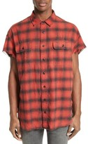 R 13 Men's Oversize Plaid Flannel Shirt