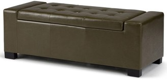 Rochester Brooklyn + Max 51 inch Wide Contemporary Rectangle Storage Ottoman in Deep Olive Green Faux Leather