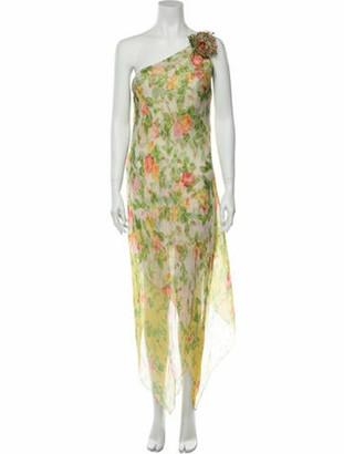 Oscar de la Renta Floral Print Knee-Length Dress Yellow