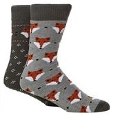 Totes Pack Of Two Assorted Fox Print Slipper Socks