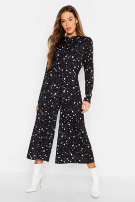 boohoo Constellation Print Twist Knot Jumpsuit