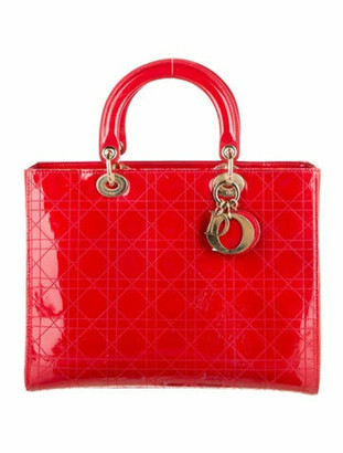 Christian Dior Large Lady Bag w/ Strap Red
