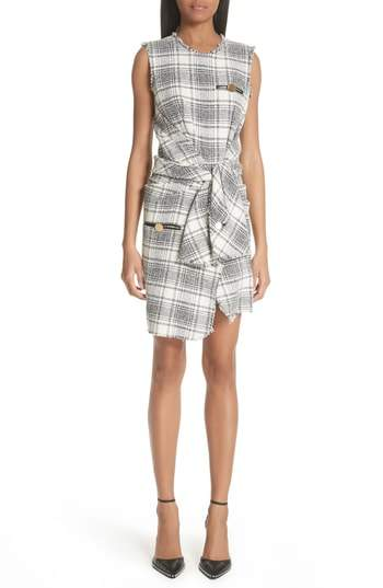 Alexander Wang Tie Waist Tweed Dress