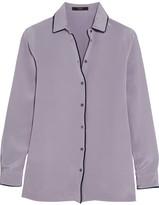 Etro Velvet-trimmed Silk Crepe De Chine Shirt - Lilac
