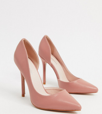 Glamorous Wide Fit D'orsay court shoes in blush