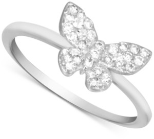 Essentials Cubic Zirconia Butterfly Ring in Fine Silver-Plate