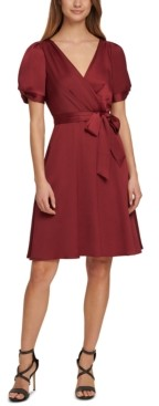 DKNY Puff-Sleeve Fit & Flare Dress
