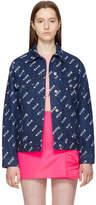 MSGM Blue Multi Stamped Denim Jacket