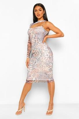 boohoo Mesh Animal Print Cut Out Asymmetric Midi Dress