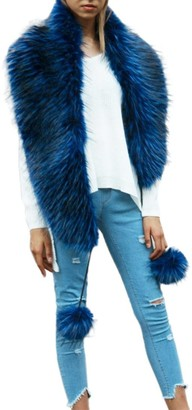 """Womens Faux Fur Scarf HOMEBABY Ladies Thick Scarves Warm Faux Fur Shawl Winter Parka Wrap Collar Evening Soft Collar (Length:56.3"""""""