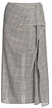 Agnona Plaid Ruffle Detail Skirt