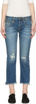 R 13 Blue Frayed Straight Boy Jeans