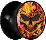 Body Candy Black Acrylic Flaming Skull Saddle Plug Pair 7mm