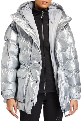 adidas by Stella McCartney Hooded Metallic Quilted Puffer Jacket