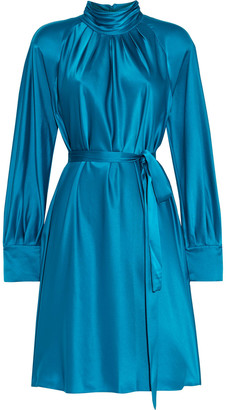 Diane von Furstenberg Veda Belted Pleated Satin Mini Dress