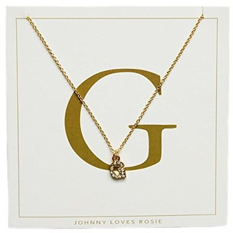 Johnny Loves Rosie Women Gold Plated Glass Chain Necklace of Length 48cm G Initial Gift Card