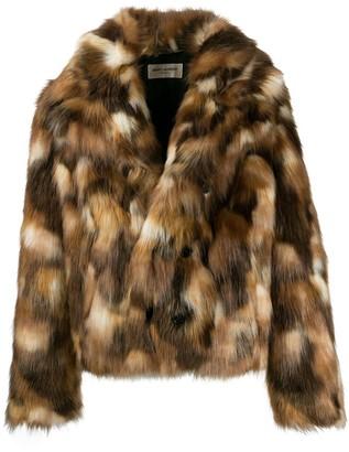 Saint Laurent Double-Breasted Faux Fur Jacket