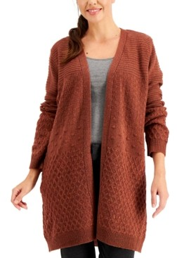 Karen Scott Plus Size Mixed-Stitch Cardigan, Created for Macy's