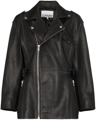 Ganni collared biker-style jacket