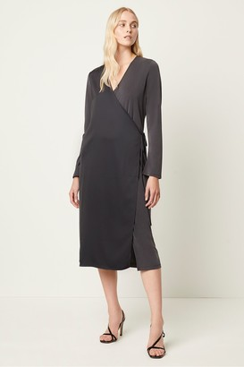 French Connection Soffie Mix Wrap Tie Dress