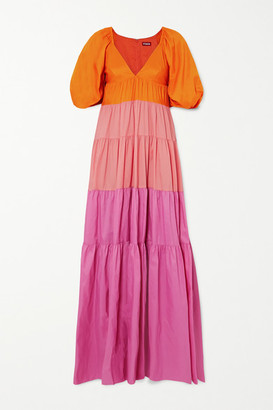 STAUD Meadow Tiered Color-block Crepe Maxi Dress - Orange