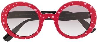 Miu Miu Circle Frame Star Print Sunglasses