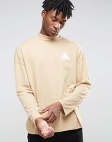Asos Oversized Long Sleeve T-Shirt With Chest Print And Turtleneck
