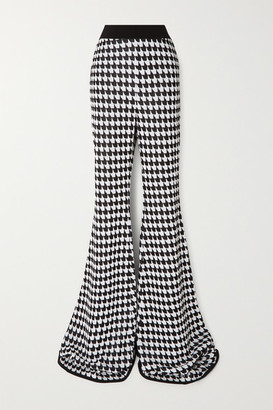 Balmain Houndstooth Stretch-knit Flared Pants - Black