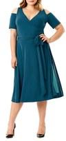 Mynt 1792 Plus Size Women's Cold Shoulder Wrap Dress