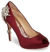 Badgley Mischka Women's 'Royal' Crystal Embellished Peeptoe Pump
