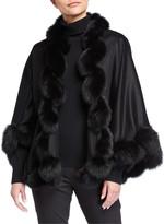 Sofia Cashmere Whipstitch Fox Fur Trim Cashmere U Cape