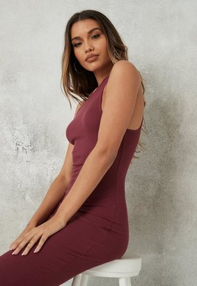 Missguided Burgundy Rib Racer Neck Midaxi Dress