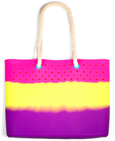 LittleMissMatched Pink & Yellow Ombré Jelly Beach Tote
