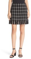 Tory Burch 'Marisol' Fringe Hem Plaid Tweed Miniskirt