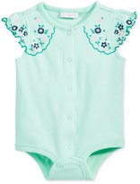First Impressions Floral-Sleeve Cotton Snap-Up Bodysuit, Baby Girls (0-24 months), Created for Macy's