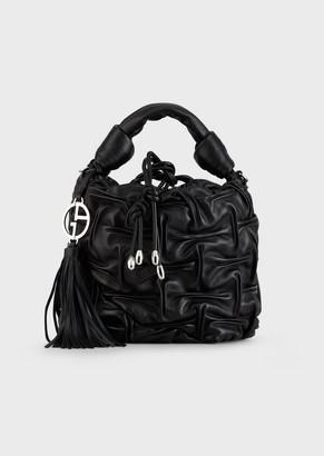 Giorgio Armani Bucket Bag In Shirred Nappa Leather